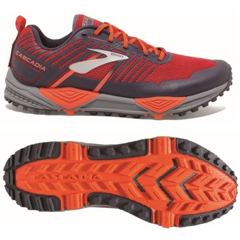 Chaussure de trail running Brooks Cascadia 13 homme 1102851d636 red / orange / grey