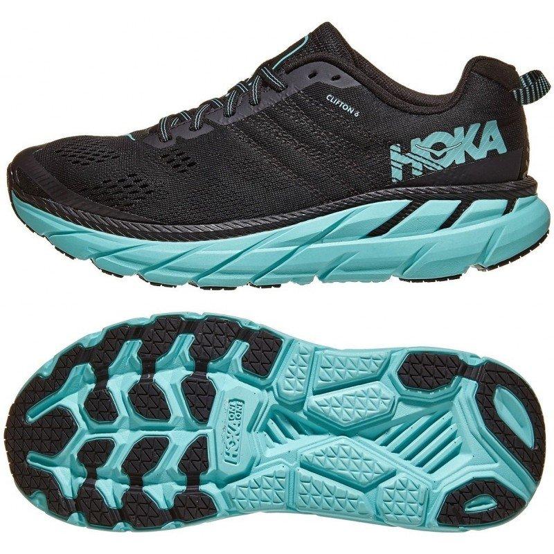 chaussure de running pour femme hoka clifton 6 1102873 basy black aqua sky