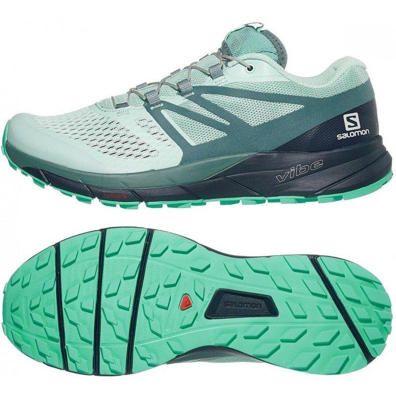 chaussures de trail running pour femmes salomon sense ride 2 406776 icy morn / navy blazer / electric green