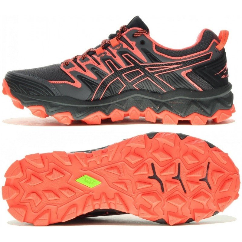 53ab694245b chaussure de trail running asics gel fuji trabuco 7 1012a180-001 black    flash coral