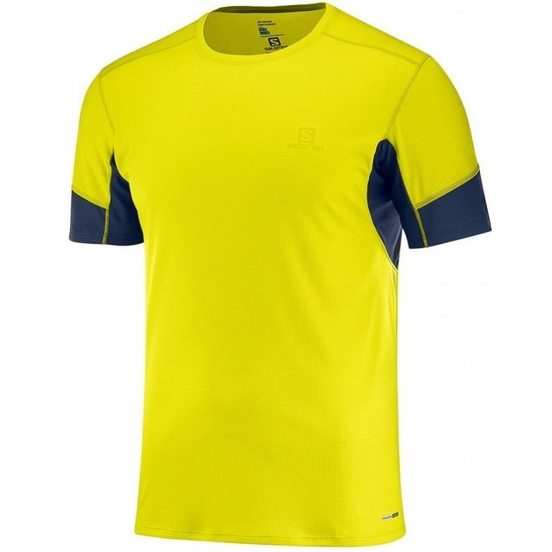 tee shirt de running pour hommes salomon agile ss tee 403852 sulphur