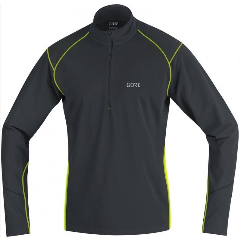 GORE POLO R3 THERMO 1/2 ZIP NOIR/FLUO