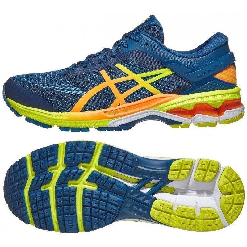 chaussure de running pour hommes asics gel kayano 26 1011a712 400 mako blue / sour yuz