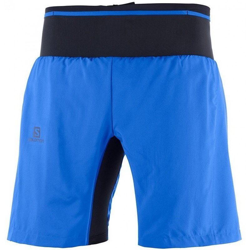 short de running et trail running salomon trail runner twinskin short nautical blue lc104760