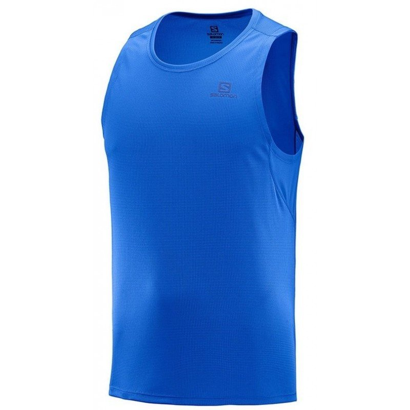 debardeur de running pour hommes salomon agile tank lc103580 nautical blue